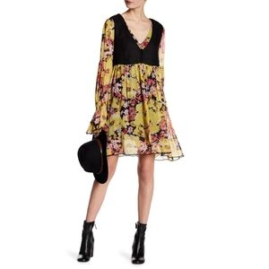 Free People Alice Vested Long Sleeve Print Dress
